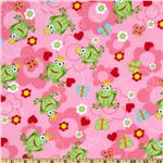 Fabri-Quilt Cuddle Flannel Frog Prince Pink