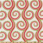 Michael Miller Christmas Large Curly Swirl Santa Red