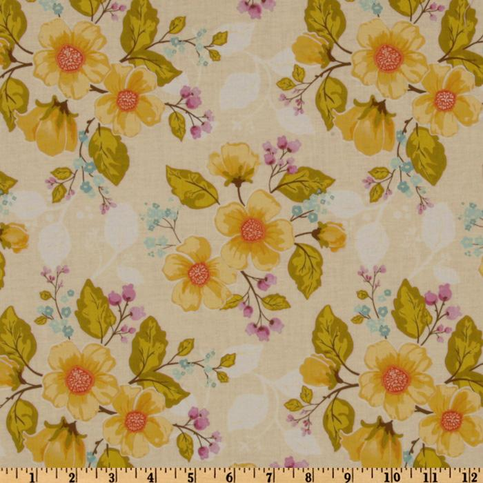 Promenade Tossed Blooms Ivory/Yellow