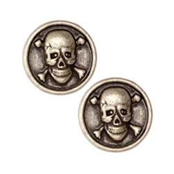 Metal Button 7/8'' Skull & Bones Antique Silver