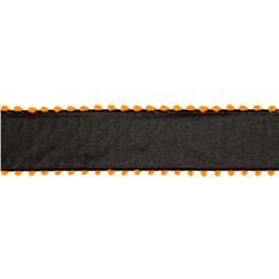 "1 1/2"" Pom-Pom Edge Wired Ribbon Black/Orange"