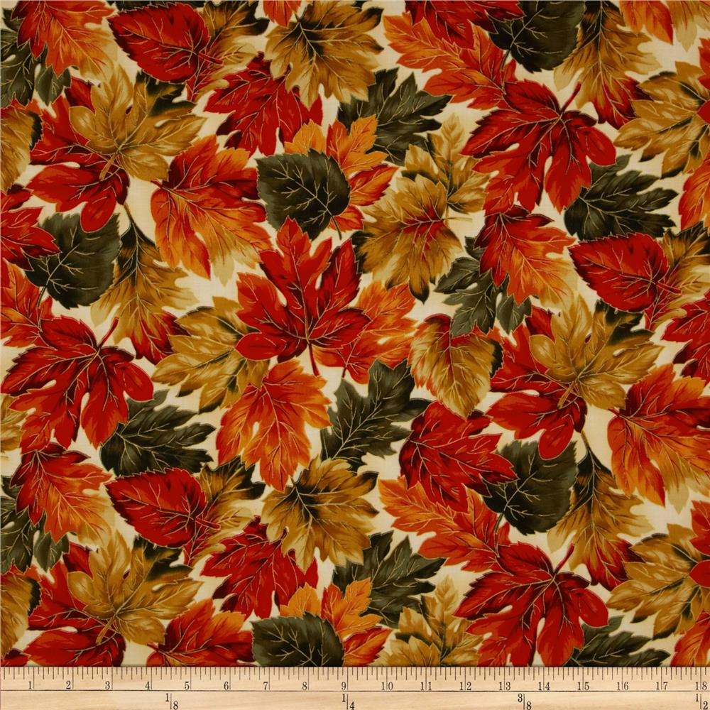 Autumn Serenade Metallic Leaves Cream