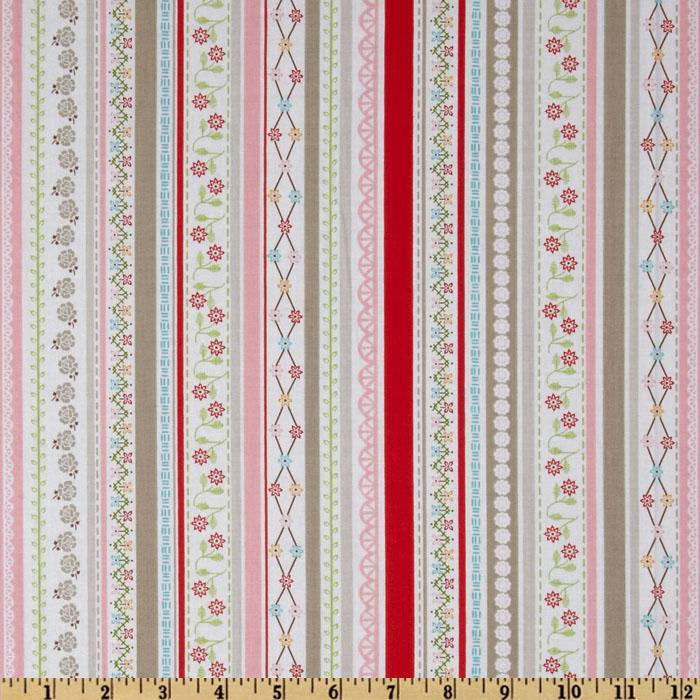 Riley Blake Polka Dot Stitches Stripe Pink