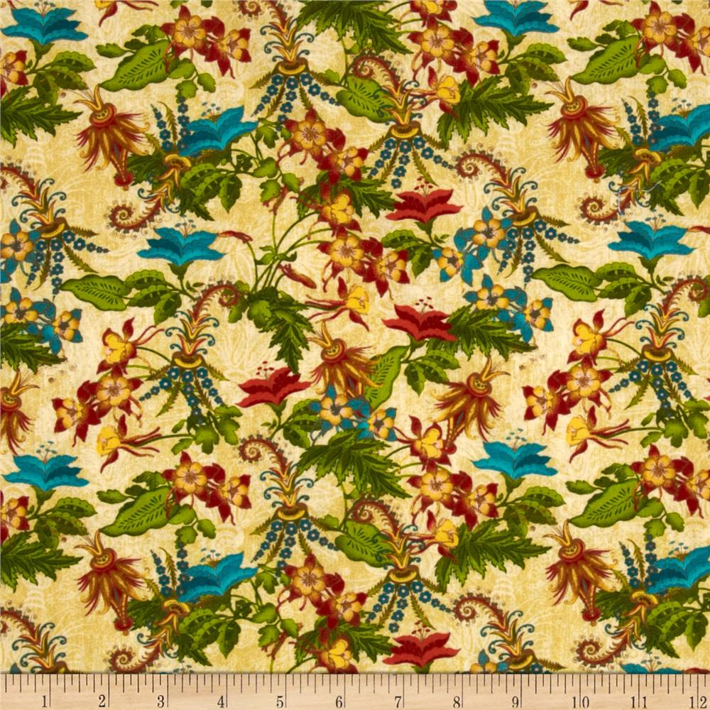 Tropical Travelogue Garden Isle Floral Ivory