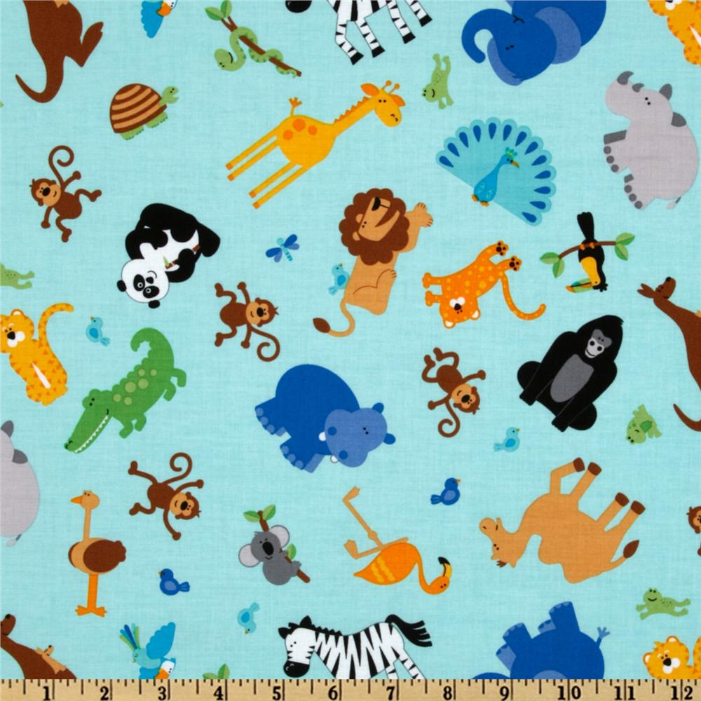 Riley Blake Zoofari Tossed Animals Blue