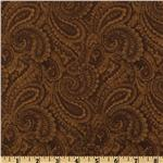 DZ-437 108&#39;&#39; Quilt Backing  Complementary Paisley Brown