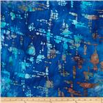 0277527 Indian Batik Abstract Blue/Orange