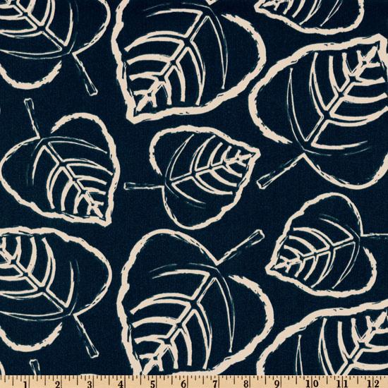 Premier Prints Indoor/Outdoor Leaf Deep Blue