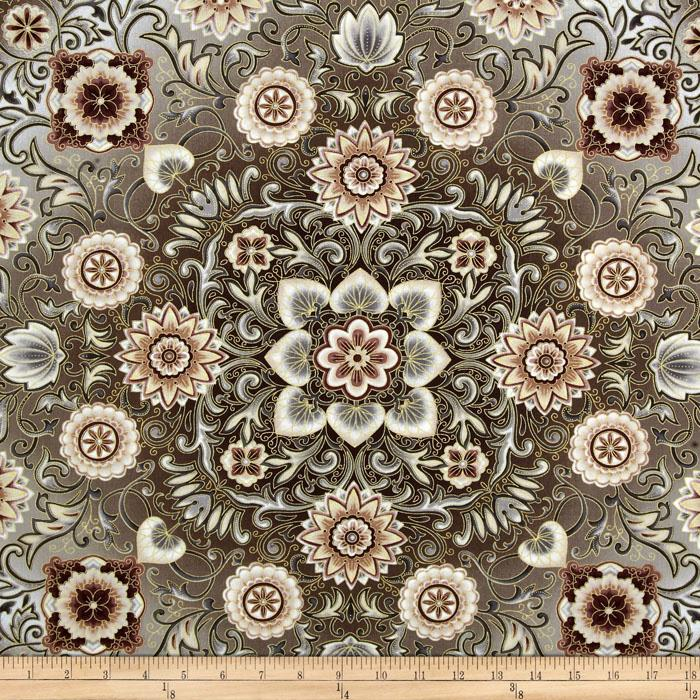 Esmeralda Metallic Floral Medallion Linen Taupe