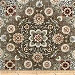 0268435 Esmeralda Metallic Floral Medallion Linen Taupe