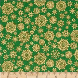 Golden Christmas Metallic Multi Snowflakes Green