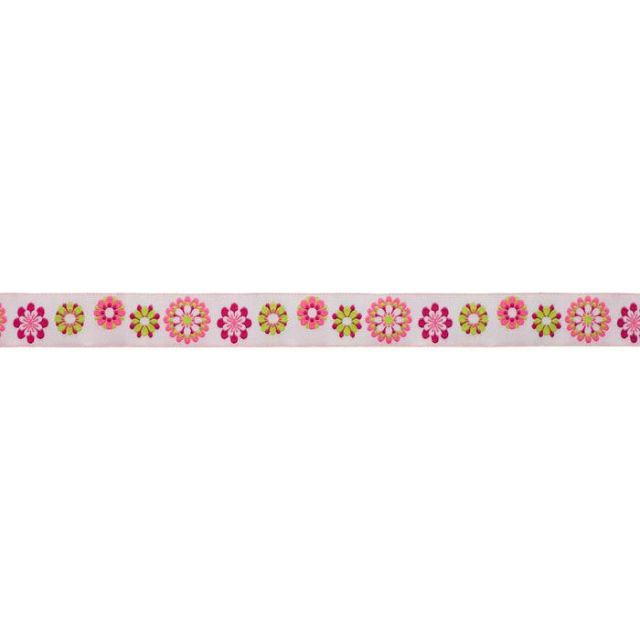 7/8&#39;&#39; Ribbon Flowers Pink/Green