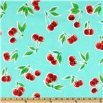 DH-319 Oil Cloth Stella Cherries Aqua