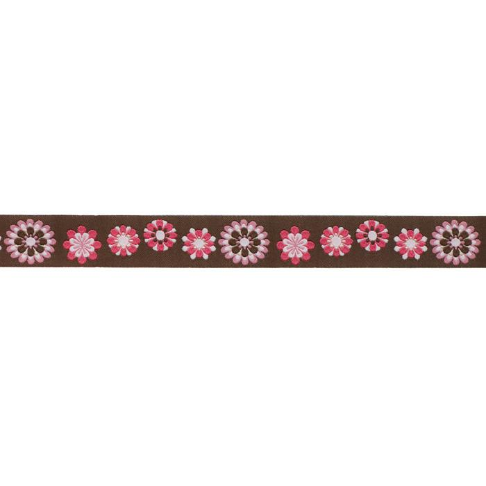 7/8'' Ribbon Flowers Brown/Pink