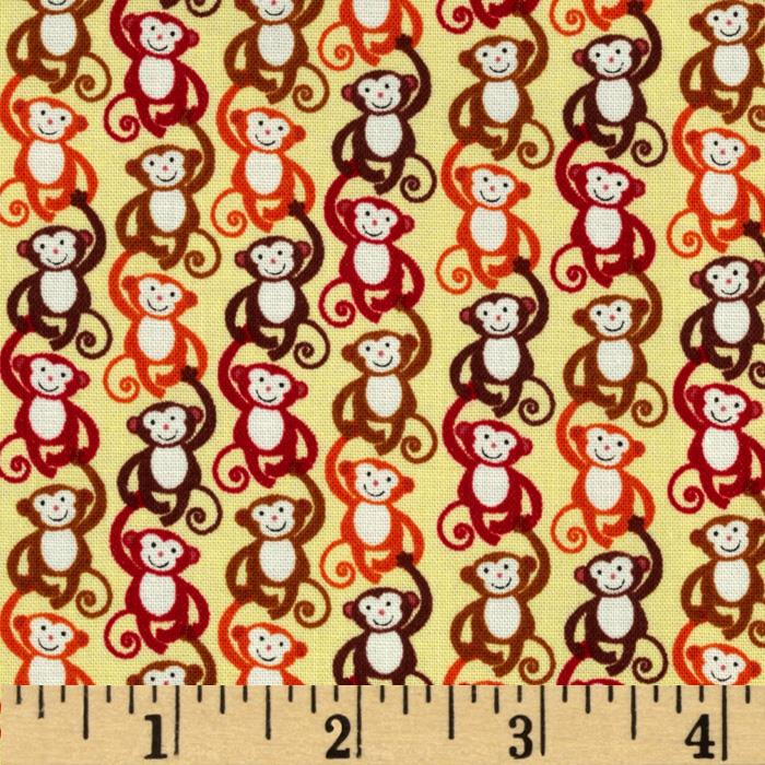Timeless Treasures Mini Monkeys Gold