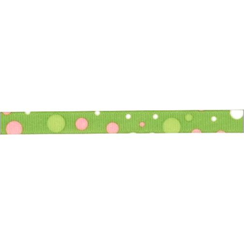 3/8&#39;&#39; Grosgrain Bubble Dot  Ribbon Green/Pink