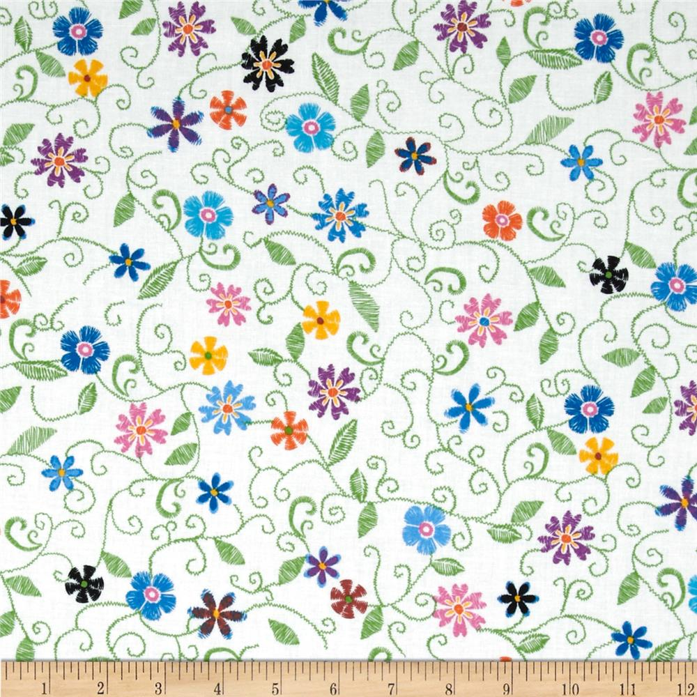 Stitches In Bloom Mini Floral Green