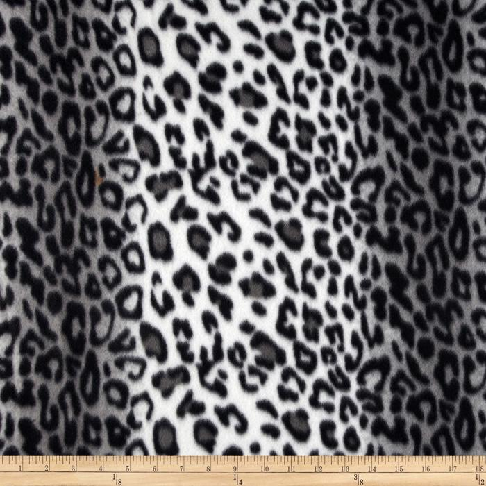 Wintry Fleece Leopard Black/White