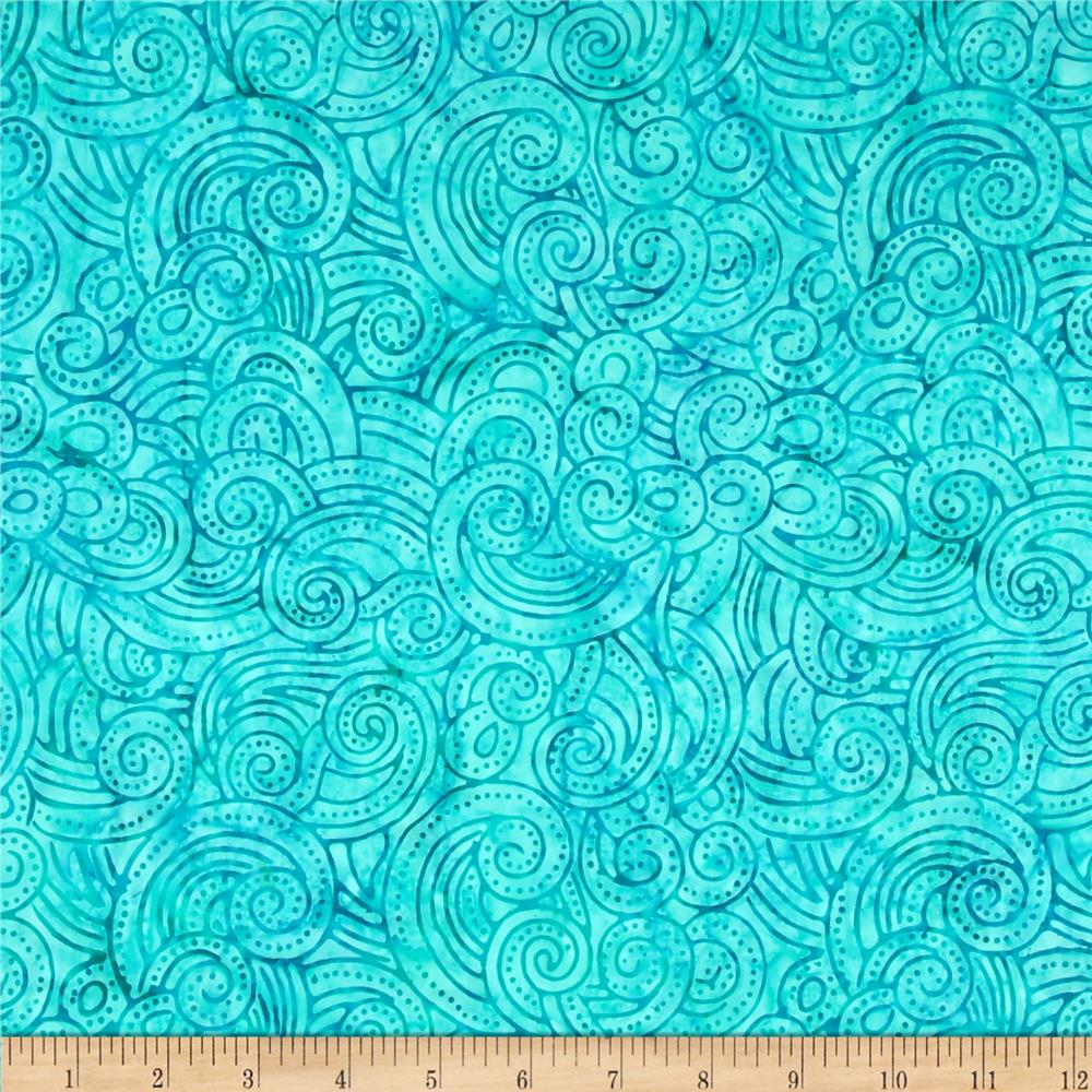 "106"" Wide Batavian Batiks Quilt Backing Dotty Turquoise"