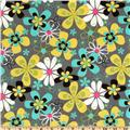 Michael Miller Lagoon Far Out Floral Grey