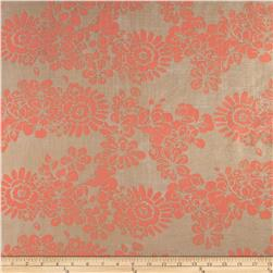 Crinkle Chiffon Flowers Orange/Natural