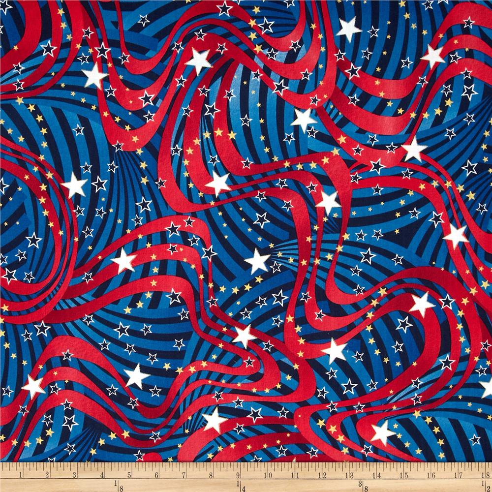 Patriotic Pop Metallic Stars & Swirls Navy