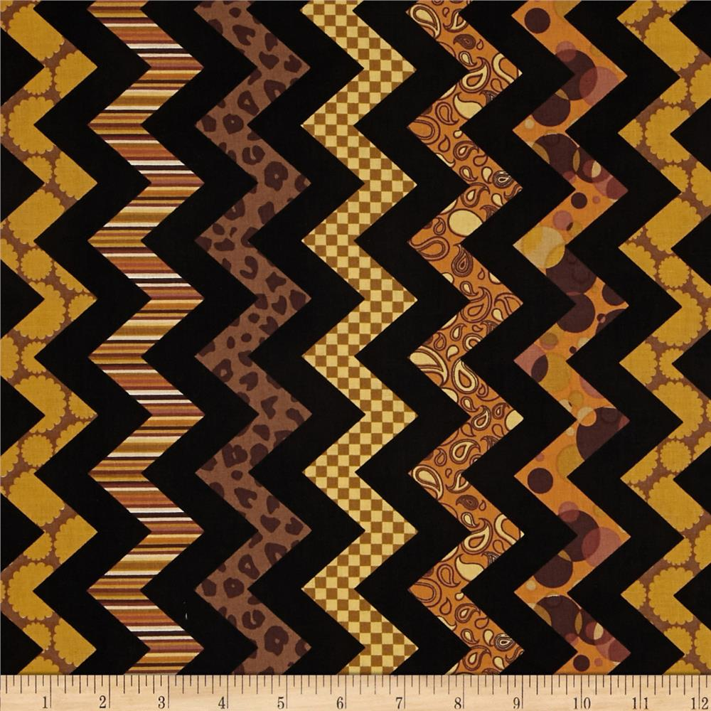 Chevron Chic Patterned Chevron Black/Amber