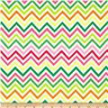 Laguna Stretch Cotton Jersey Knit Zig Zag Pink/Yellow