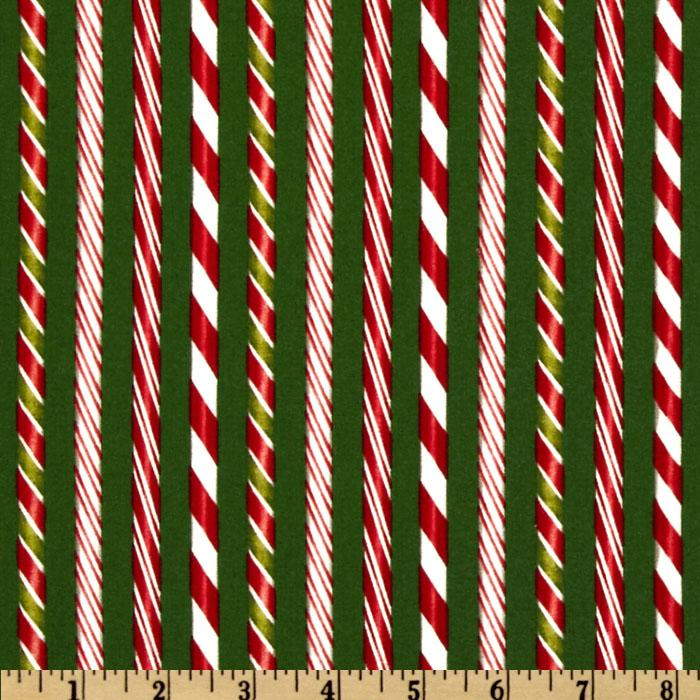 Holly Jolly Christmas Candy Cane Stripes Evergreen