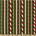 FP-782 Holly Jolly Christmas Candy Cane Stripes Evergreen