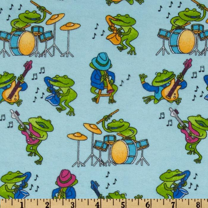 Comfy Flannel Music Frogs Blue