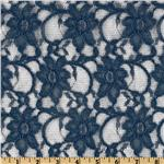0267105 Xanna Floral Lace Fabric Navy