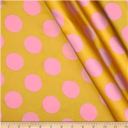 Charmeuse Satin Large Polka Dots Yellow/Pink
