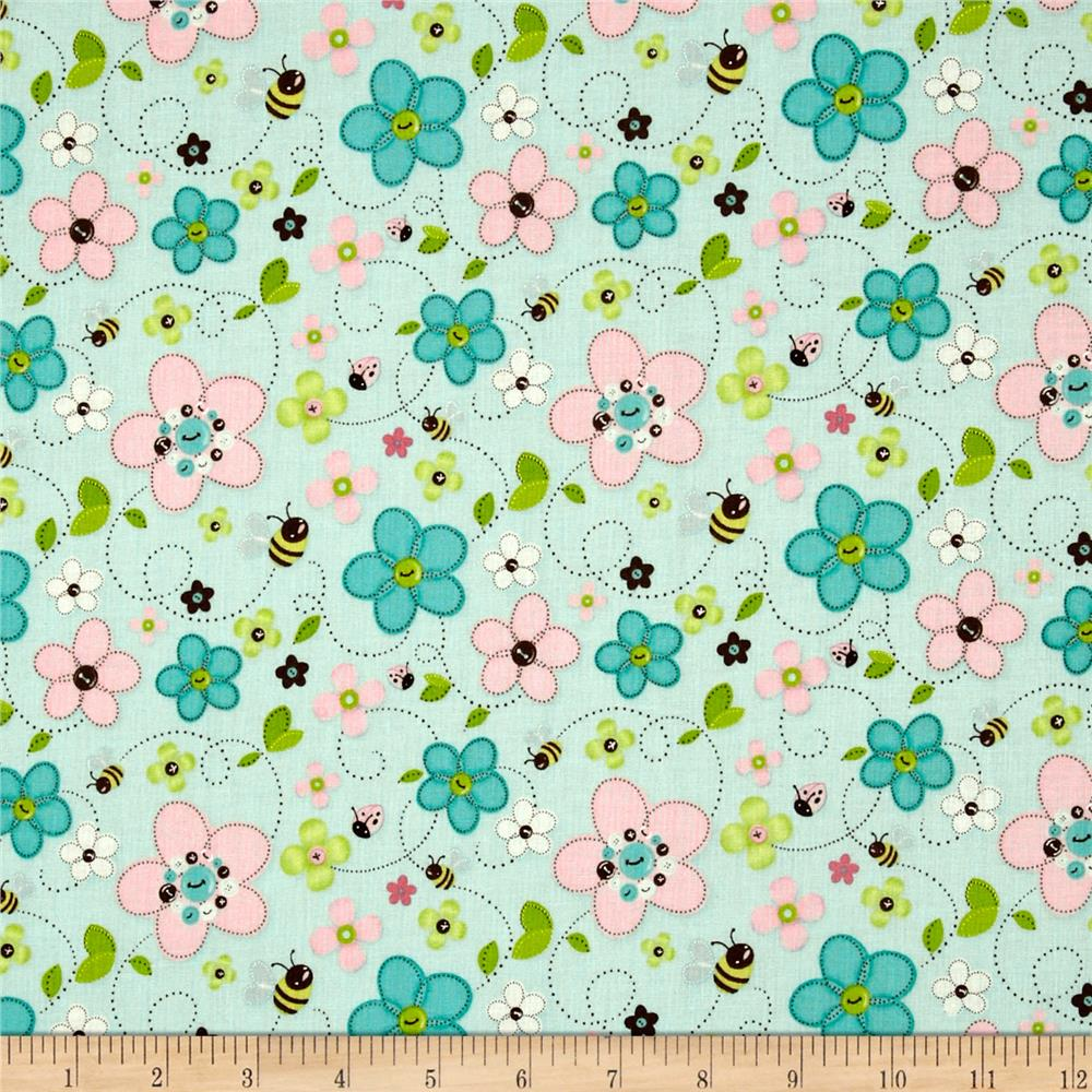Stitched Garden Bees & Flowers Blue