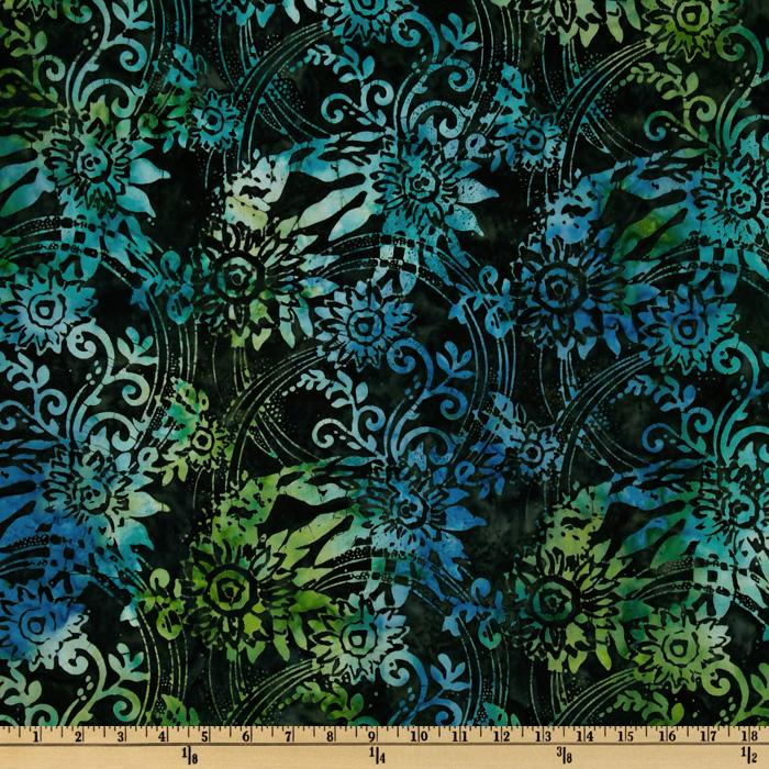 108'' Wide Tonga Batik Quilt Backing Swirled Floral Night Sky Green