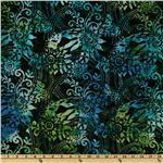 FH-848 108&#39;&#39; Wide Tonga Batik Quilt Backing Swirled Floral Night Sky Green