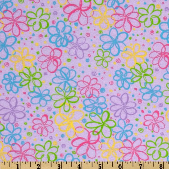 Sweet Taffy Flannel Daisies Lilac