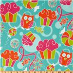 FD-213 Sweet Shop Allover Owls, Cupcakes &amp; Candies Aqua