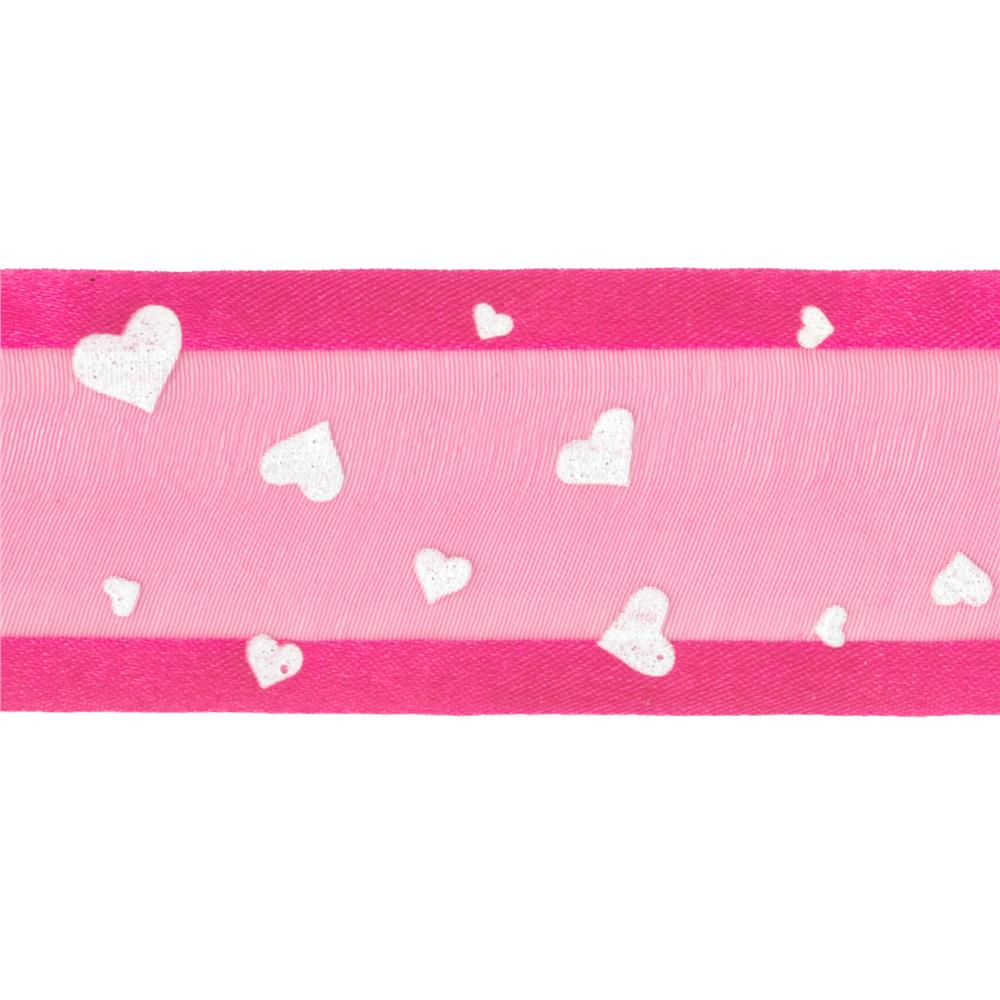 "1 1/2"" Sheer Satin Hearts Ribbon Fuchsia/White"