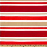 Stretch ITY Jersey Knit Stripes Red/ Khaki