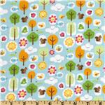 Mother Nature Flannel Forest Friends Girl Blue/Orange