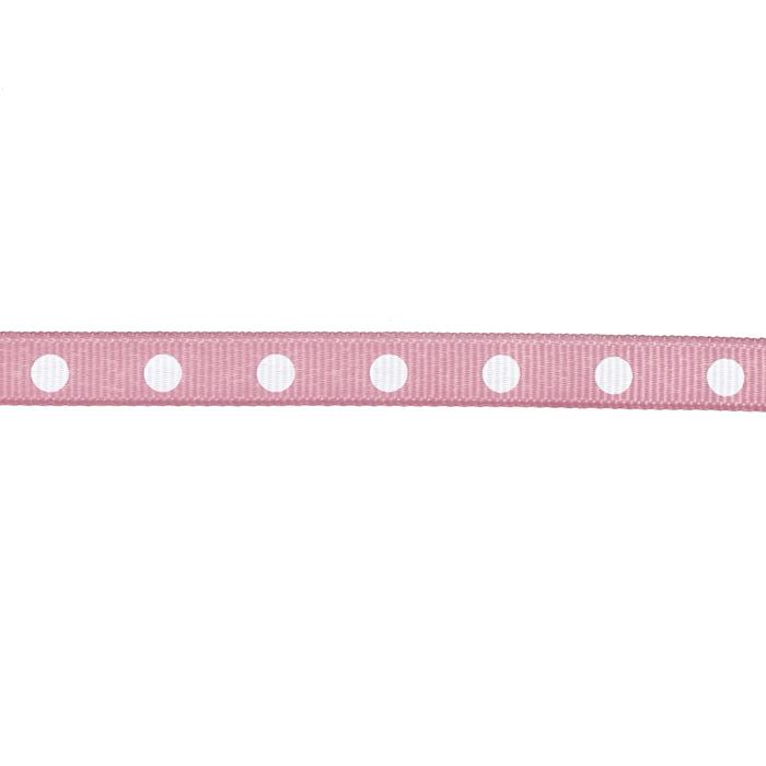 3/8&quot; Grosgrain Ribbon Dot White/Mauve