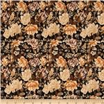 Designer Stretch Jersey Floral Gold/Black