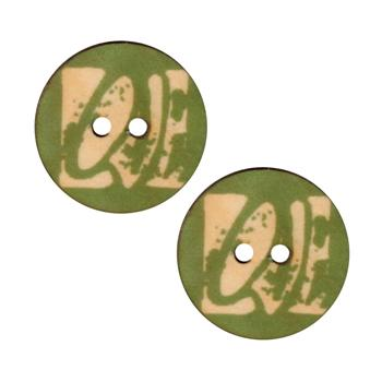 Novelty Button 1&#39;&#39; Love Green