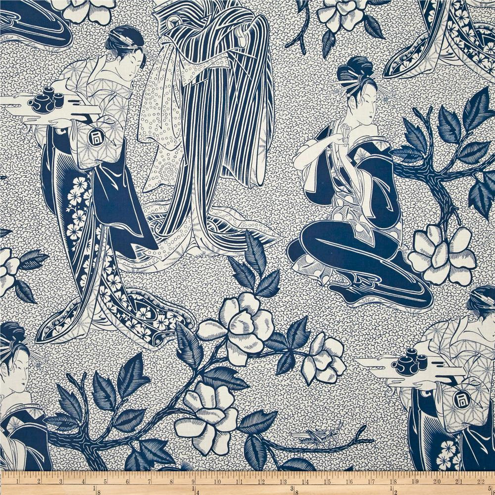 Indochine Woodcut Geisha Indigo