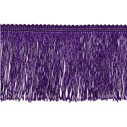 "4"" Metallic Chainette Fringe Trim Purple"