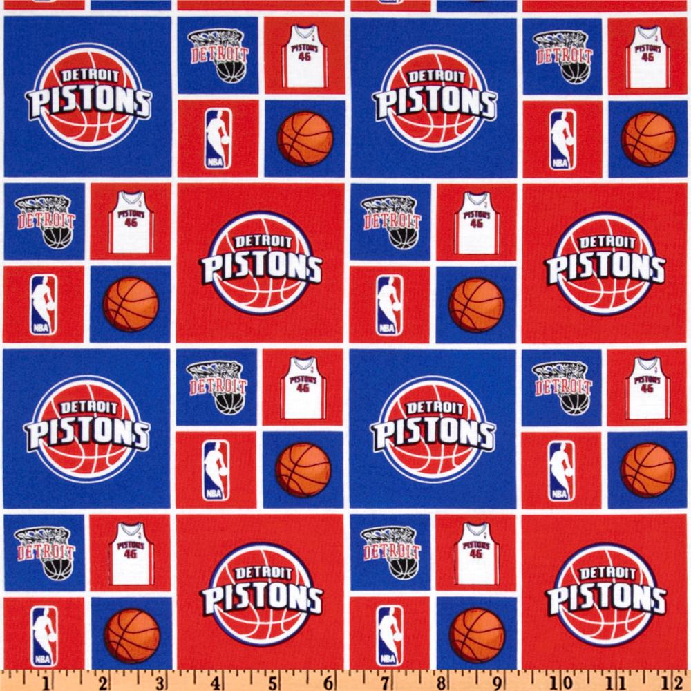 NBA Cotton Broadcloth Detroit Pistons Royal/Red