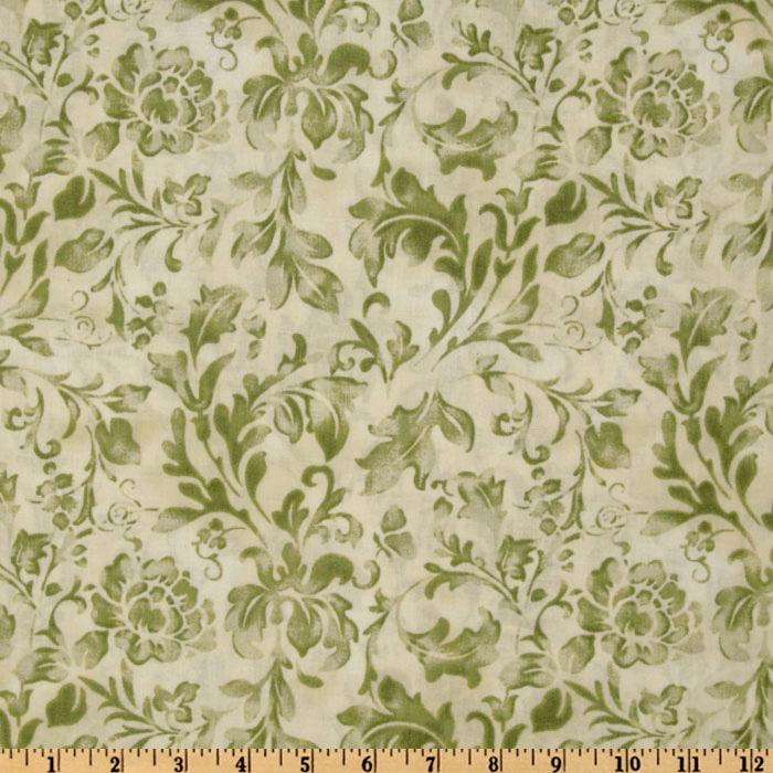 108'' Wide Essential Floral Texture Ivory/Green