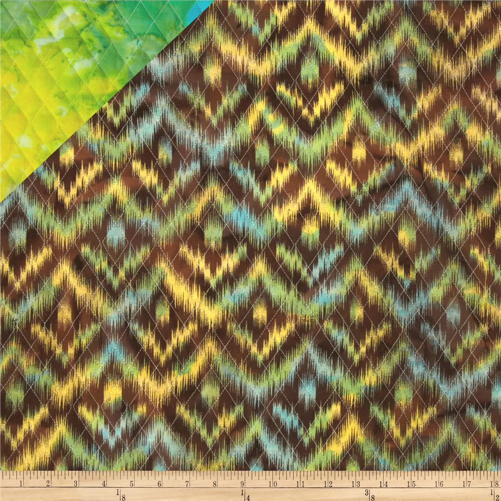 Double Sided Quilted Indian Batik Ikat Brown/Yellow/Green