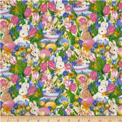 Bunnies In The Garden Blue/Pink